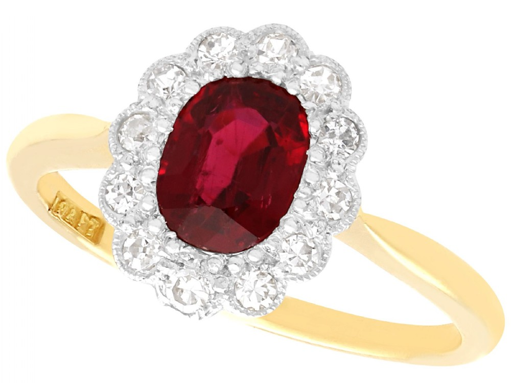 103ct thai ruby and 028ct diamond 18ct yellow gold cluster ring antique circa 1930