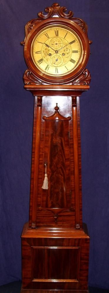 solid flame mahogany 8 day gilt dial longcase