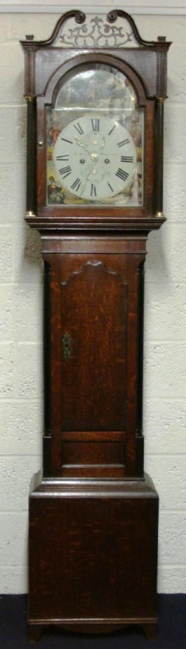 oak case painted dial 8 day longcase clock