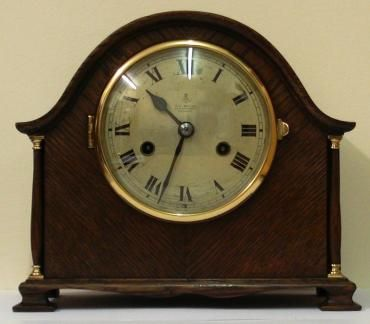 stained oak 8 day mantel clock by gustav becker