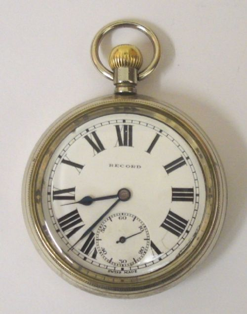 swiss record nickel cased 'lms' pocket watch
