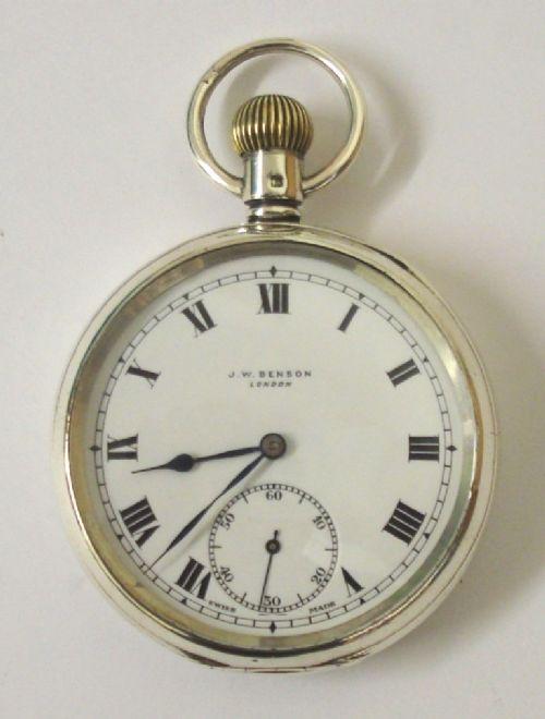 swiss silver cased pocket watch by jwbenson