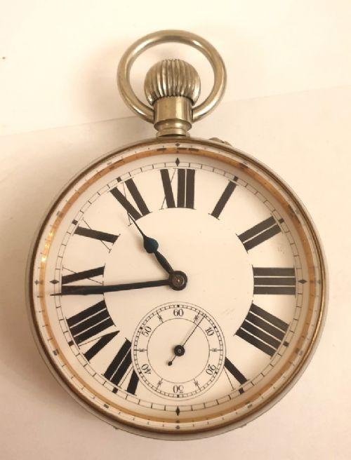 nickel cased goliath day going pocket watch