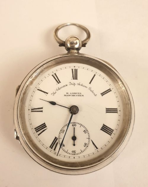english silver cased pocket watch by hsamuel