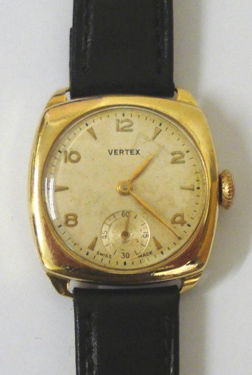 vertex revue 9ct gold manual wind wrist watch