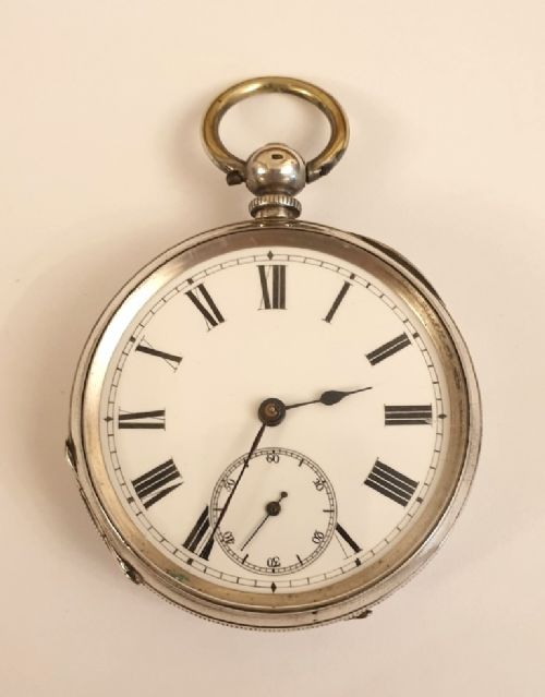 swiss silver cased cylinder pocket watch