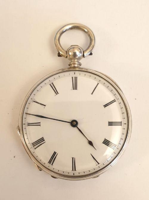 swiss silver cased cylinder pocket watch