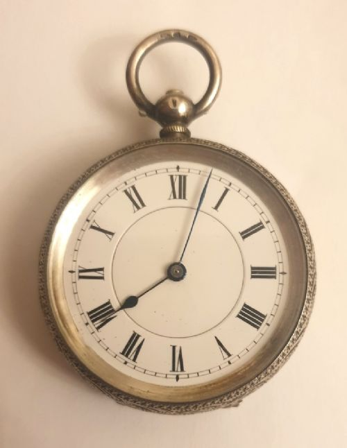 small swiss silver cased cylinder pocket watch