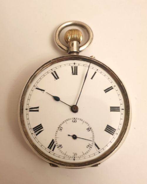 swiss silver cased 34 plate cylinder pocket watch