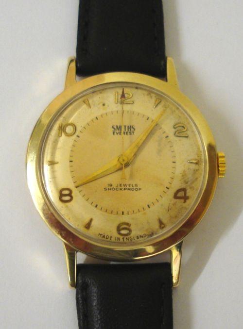 smiths everest 9ct gold manual wind wrist watch