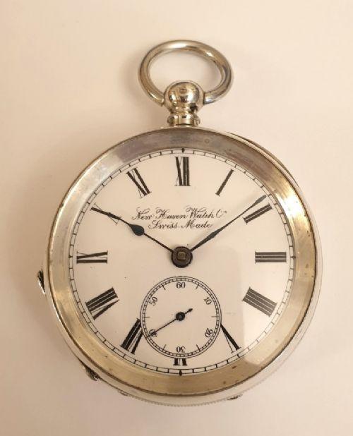 swiss silver cased key wind cylinder pocket watch