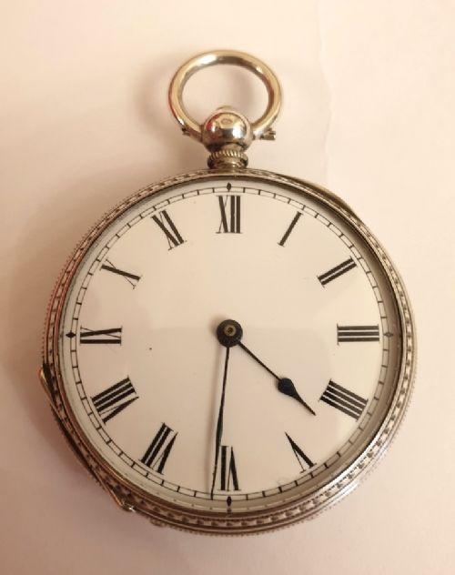swiss silver cased key wind pocket fob watch