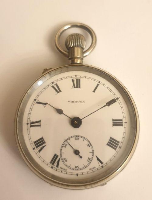 swiss nickel cased pin lever pocket watch