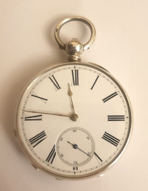 swiss silver cased key wind pocket watch