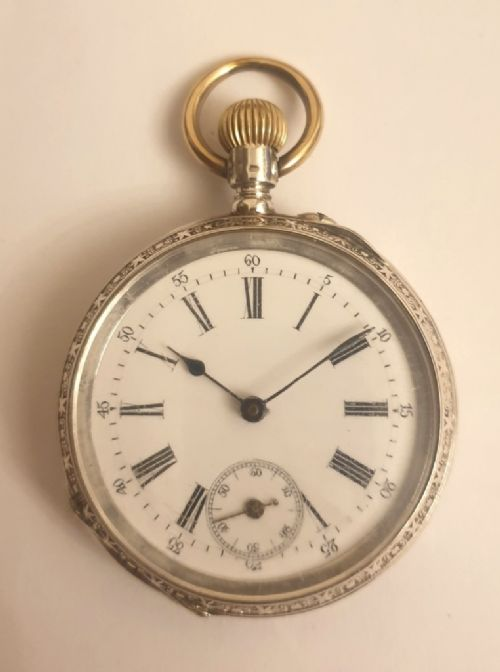 swiss silver cased top wind pocket fob watch