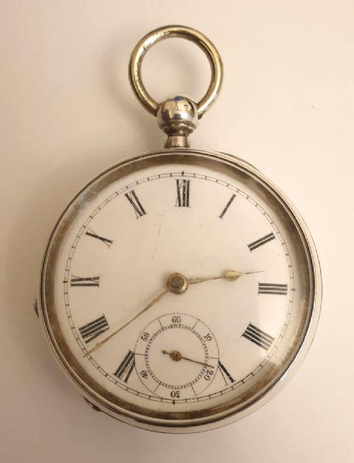 swiss silver cased key wind pocket watch