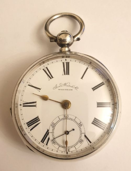 american watch co silver cased pocket watch