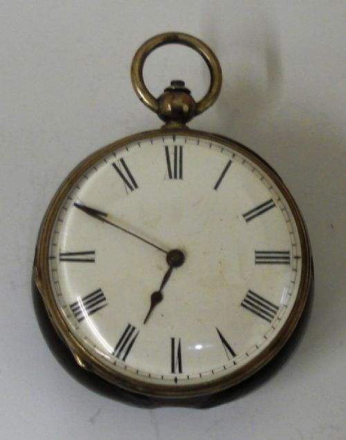 silver cased and wooden backed pocket watch