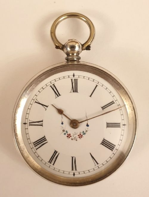 swiss silver cased key wind fob watch