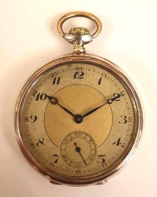 swiss silver cased keyless wind pocket watch