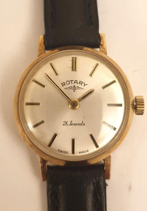 ladies swiss rotary 9ct gold manual wind watch
