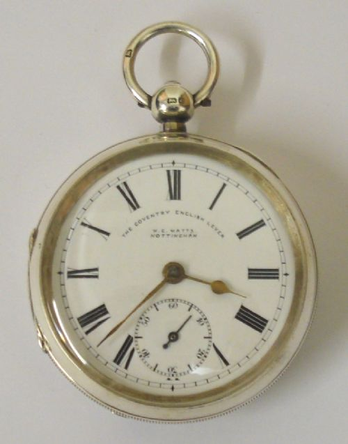 silver cased coventry english lever pocket watch