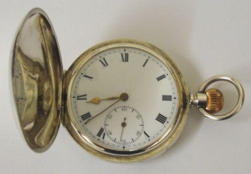 swiss silver cased full hunter pocket watch