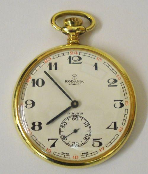 swiss rodania gold plated pocket watch