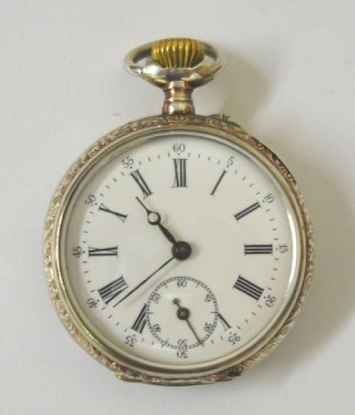 silver cased swiss cylinder pocket watch