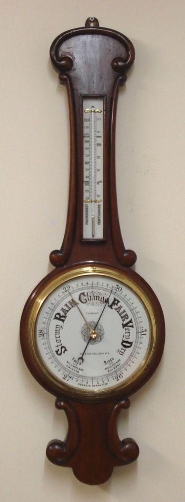 english mahogany cased aneroid barometer