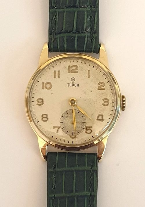 rolex tudor 9ct gold manual wind wrist watch