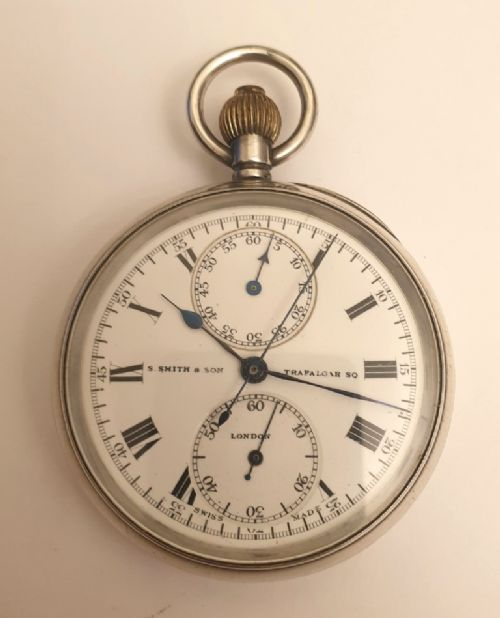 ssmith sons silver cased chronograph pocket watch