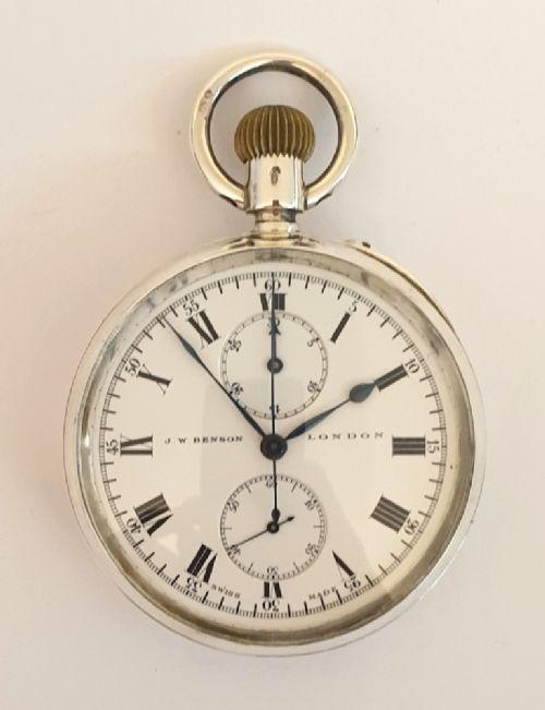 jwbenson silver cased chronograph pocket watch