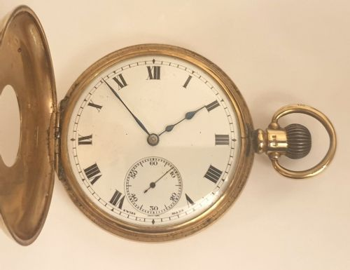 swiss 9ct gold half hunter pocket watch