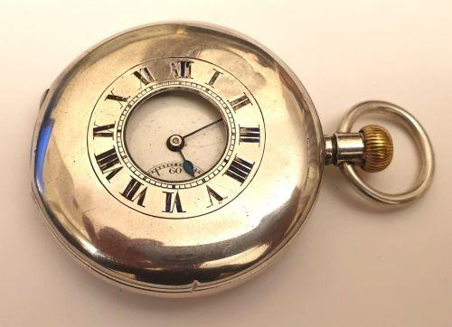 swiss syren silver cased half hunter pocket watch