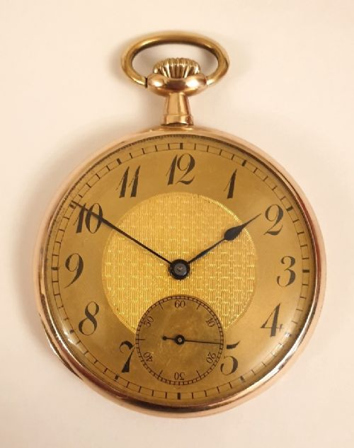 9k gold cased open face dress pocket watch