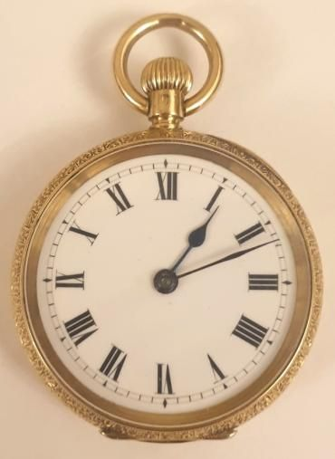 swiss 18c gold cased ladies pocketfob watch