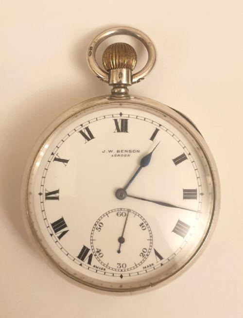 swiss jwbenson silver cased pocket watch