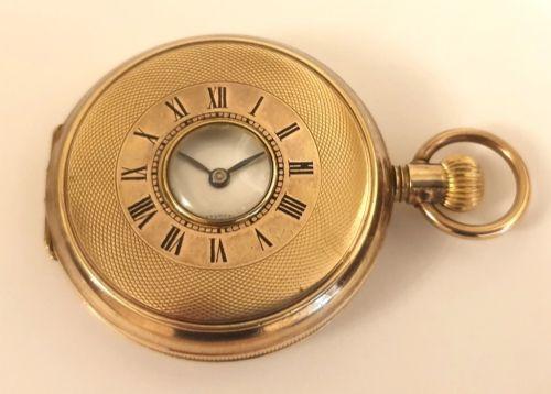 swiss gold filled cased half hunter pocket watch