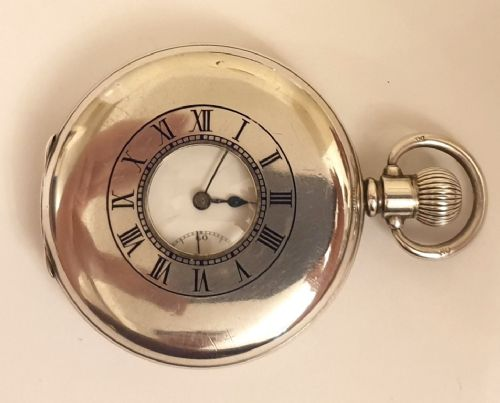 swiss silver cased half hunter pocket watch