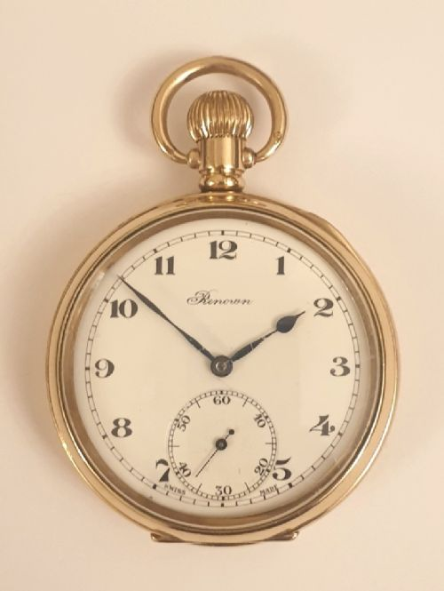 swiss gold plated 'renown' pocket watch