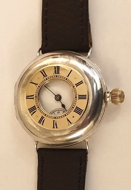 swiss silver cased omega half hunter wrist watch