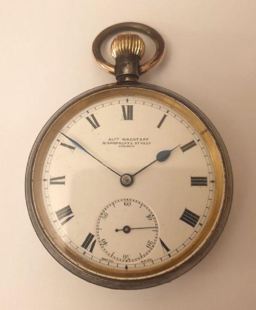 swiss omega gun metal cased pocket watch