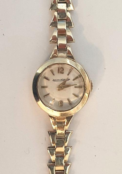 ladies jaegar lecoultre 9ct gold wrist watch