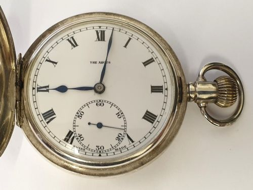 swiss silver 'the angus' full hunter pocket watch