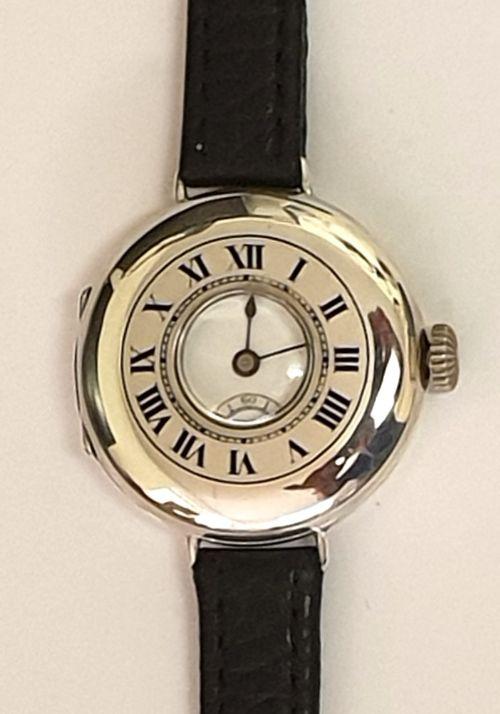 swiss silver cased half hunter wrist watch