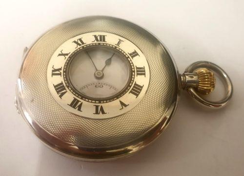 swiss rode silver cased half hunter pocket watch