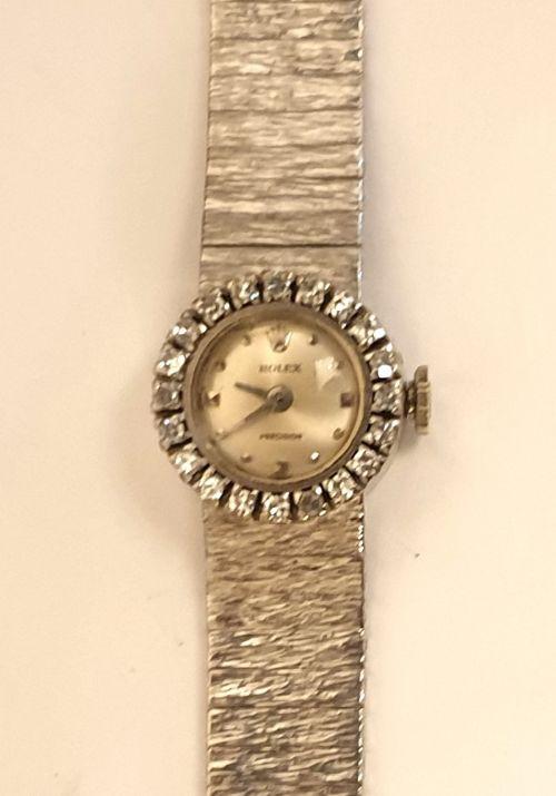 ladies rolex precision 18k white gold wrist watch
