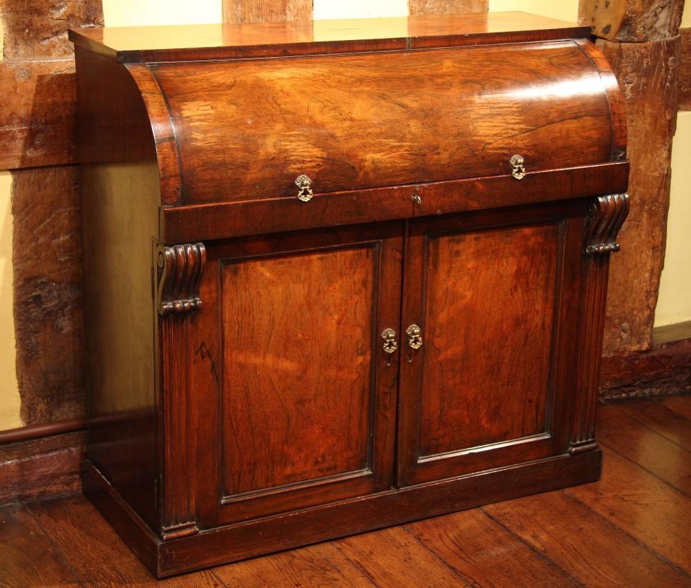 regency rosewood cylinder writing desk