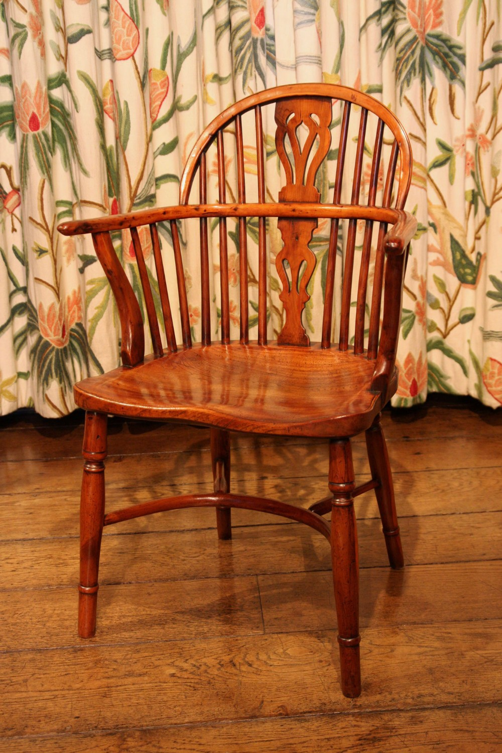 yew wood windsor dining chair regency